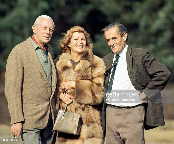 Broadcaster and journalist Alistair Cooke film star Rita Hayworth and golf author Pat WardThomas on 29th March 1968