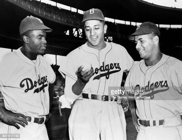 Left to Right Brooklyn Dodgers Jackie Robinson Don Newcombe and Roy Campanella circa 1940