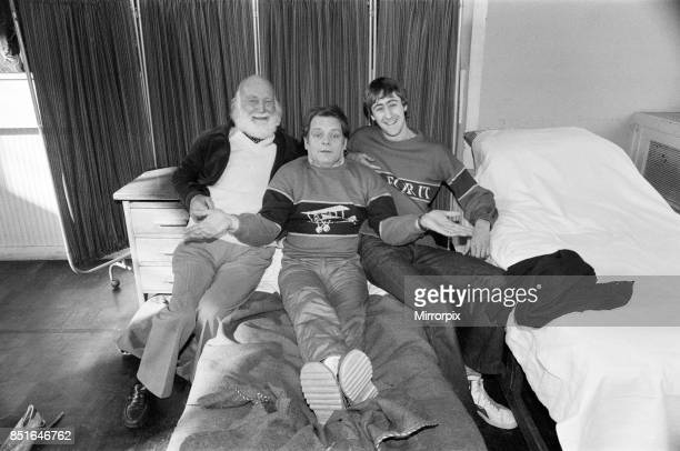 Left to right Buster Meredith David Jason and Nicholas Lyndhurst who all appear in the BBC TV comedy series 'Only Fools and Horses' 14th February 1985