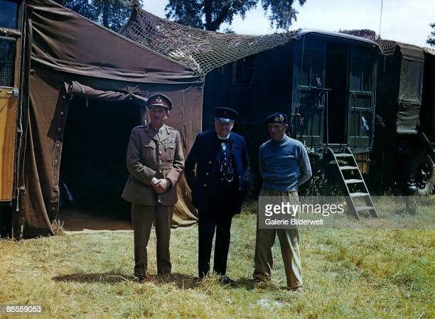 Chief of the Imperial General Staff Field Marshal Sir Alan Brooke British Prime Minister Winston Churchill and commander of the 21st Army Group Field...