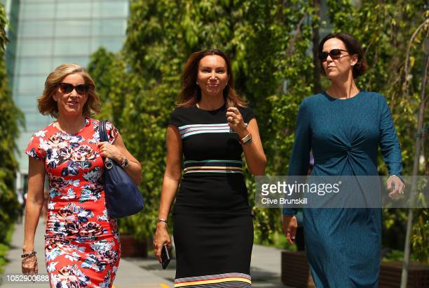 Left to right Chris Evert Iva Majoli and Lindsey Davenport walk to the legends photo shoot during day 4 of the BNP Paribas WTA Finals Singapore...