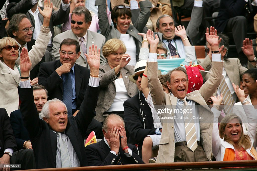 Left to right; Christian Bim, HRH Juan Carlos of Spain and Bertrand Delanoe during the French Open Mens Final at Roland Garros, Paris, France. Nadal won 6-7, 6-3, 6-1, 7-5.