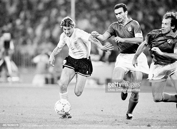 Claudio Caniggia of Argentina Giuseppe Bergomi and Franco Baresi of Italy in action during the FIFA World Cup semifinal between Italy and Argentina...