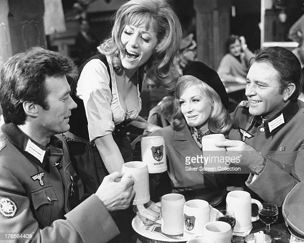 Clint Eastwood as Lieutenant Morris Schaffer, Ingrid Pitt as Heidi, Mary Ure as Mary Elison and Richard Burton as Major Jonathan Smith, in a scene...
