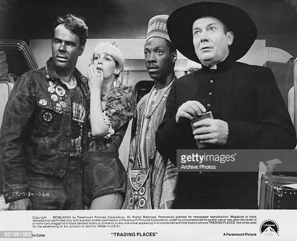 Dan Aykroyd, Jamie Lee Curtis, Eddie Murphy and Denholm Elliott in a scene from 'Trading Places', directed by John Landis, 1983.