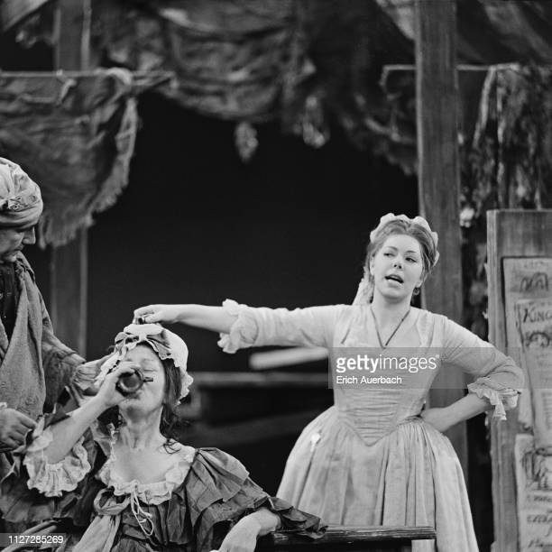 David Kelly Anna Pollak and Janet Baker in a BBC TV production of Benjamin Britten's 'The Beggar's Opera' 30th August 1963 They play the roles of Mr...