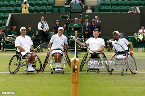 Left to right David Wagner of USA Andy Lapthorne of Great Britain Dylan Alcott of Australia and Lucas Sithole of USA before the quad doubles...
