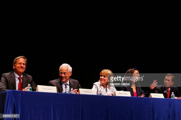 Left to right Democratic Candidates for Governor Joe Avellone Don Berwick Martha Cokley Juliette Kayyem and Steve Grossman are seated at the...
