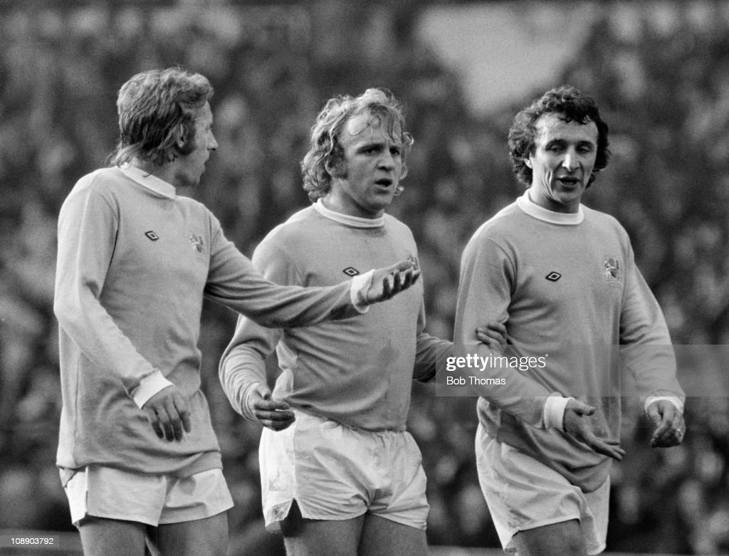Left to right, Denis Law, Francis Lee and Mike Summerbee of Manchester City form a defensive wall during the League Cup Final against the Wolverhampton Wanderers at Wembley Stadium, London on 2nd March 1974. The Wolves won 2-1.