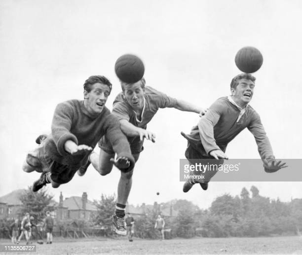 left to right Denis Viollett Bobby Charlton and Johnny Giles pictured in training for Manchester United Picture taken 4th August 1960