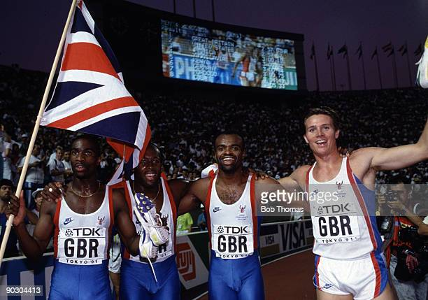 Left to right Derek Redmond John Regis Kriss Akabusi and Roger Black of Great Britain gold medallists in the men's 4 x 400 relay at the 3rd World...