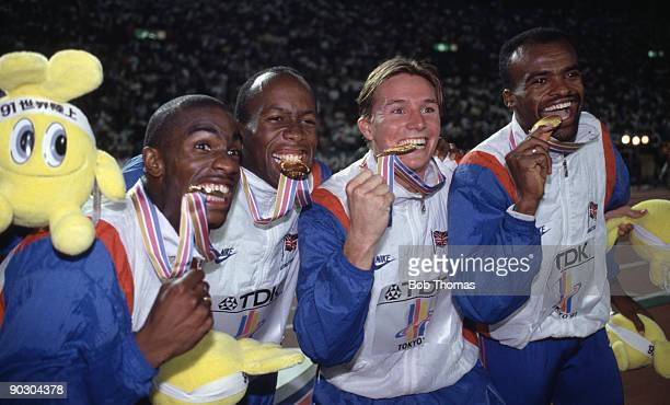 Left to right Derek Redmond John Regis Roger Black and Kriss Akabusi of Great Britain celebrating their gold medal win in the men's 4 x 400m relay at...
