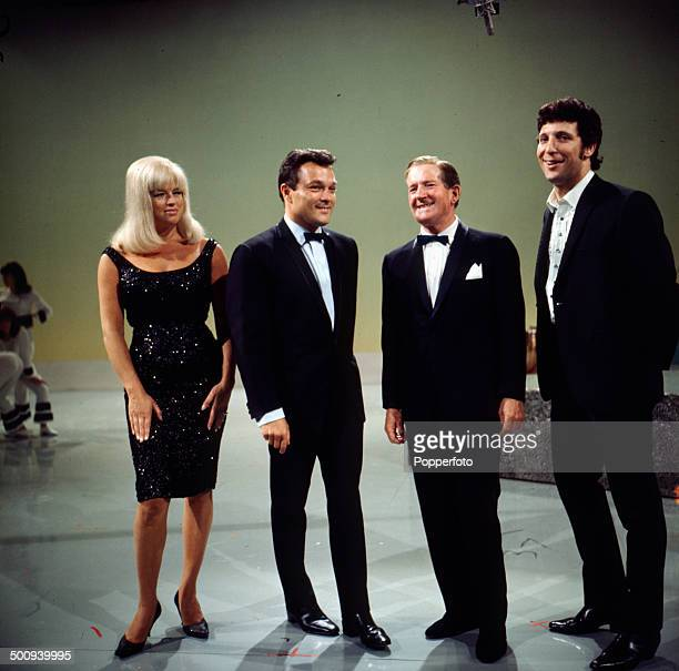 Diana Dors Dickie Valentine Ted Ray and Tom Jones pictured on the set of the television series 'The Dickie Valentine Show' in 1966
