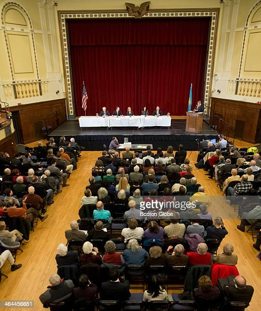Left to right Don Berwick Steve Grossman Martha Coakley Juliette Kayyem and Joe Avellone during the first Democratic Candidates Governor Roundtable...