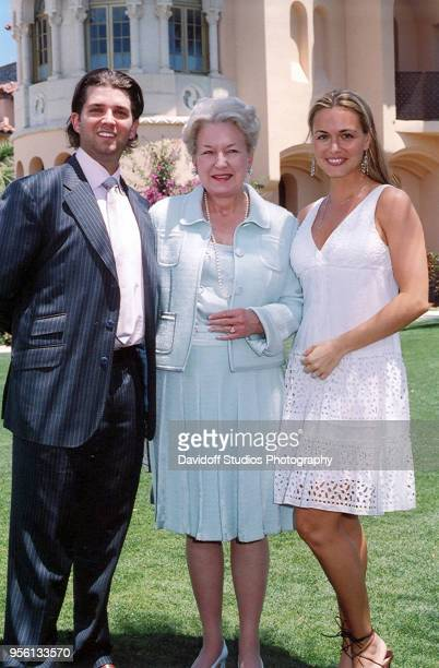 Left to right Donald Trump Jr Judge Maryanne Trump Barry and Vanessa Kay Haydon Trump pose for a portrait during Easter Sunday events at the MaraLago...
