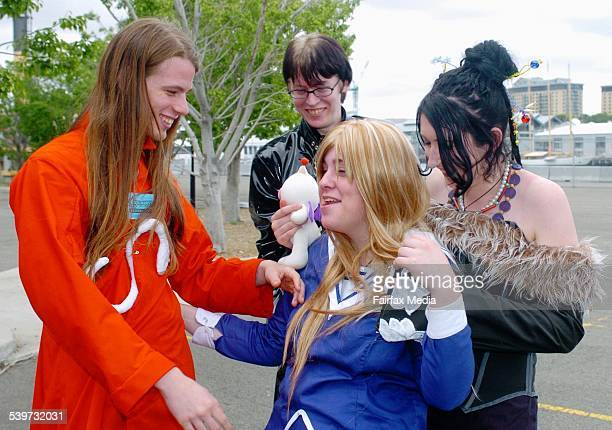 Left to right Douglas Rees Matthew Woods Kate Dockrill and Gina Reynolds at the Supanova Pop Culture Expo in Walsh Bay 14 October 2005 SHD NEWS...