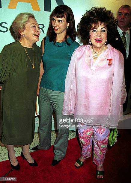 Left to right Dr Mathilde Krim Elizabeth Taylor''s granddaughter Naomi and Elizabeth Taylor attend the benefit by the American Foundation for Aids...