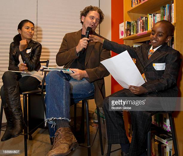 Left to right Dulce Berna Dave Eggers and Wajaah Farah with the audience helping write a childrens book called 'The Horseshoe Crab's Whale of a Day'...