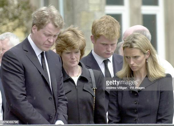 Earl Spencer Lady Sarah McCorquodale and Caroline after the funeral of Frances Shand Kydd which was held in St Columba's Cathedral Oban Scotland