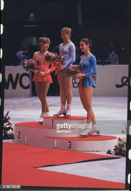 Left to right, Elaine Zayak , Denise Biellmann , and C. Krostofics-Binder , the female winners of the World Figure Skating Championships of 1981,...
