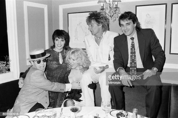 Left to right Elton John Liza Minnelli Alana Stewart Rod Stewart and Mark Gero They are pictured at the White Elephant to celebrate Liza Minnelli's...