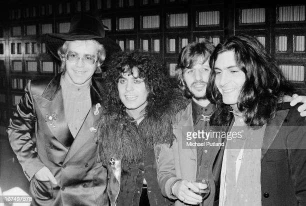 Elton John Marc Bolan Ringo Starr and Mickey Finn at the UK premiere of the concert film 'Born To Boogie' at Oscar's Cinema in Brewer Street Soho...