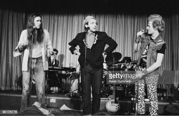 English actors Nigel Planer as Neil Rik Mayall as Rick and Adrian Edmondson as Vyvyan in a stage version of the television sitcom 'The Young Ones'...