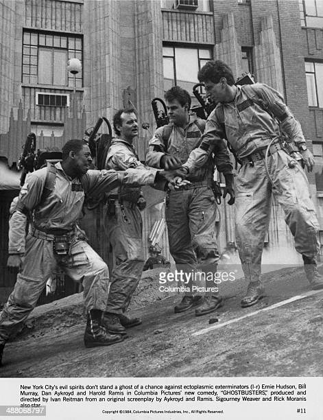 Ernie Hudson Bill Murray Dan Aykroyd and Harold Ramis as paranormal investigators in Ivan Reitman's 1984 comedy 'Ghostbusters'