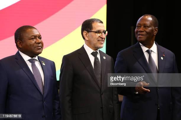 Left to right, Filipe Nyusi, Mozambique's president, Saad-Eddine El Othmani, Morocco's prime minister, and Alassane Ouattara, Ivory Coast's...