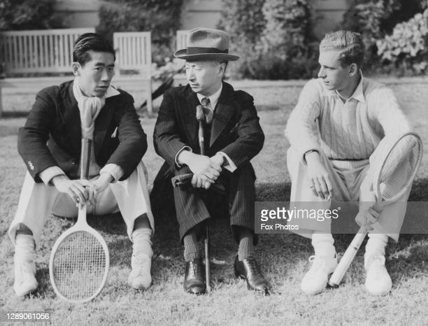 Former Davis Cup tennis player Kenneth Lo talks with Vi Kyuin Wellington Koo, the Ambassador of the Repbulic of China to the Court of St James, and...