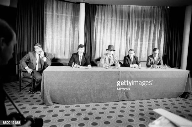 Left to right, Frank Pressland , Paul White , Elton John, John Reid and Eddie Plumley . Pictured during a press statement about Elton John's ú2...