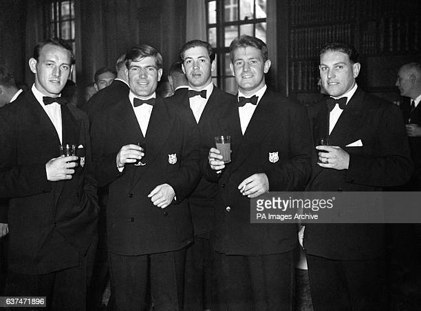 Left to right Frank Sykes Bryn Meredith Clem Thomas Courtney Meredith and Pat Quinn part of the British touring rugby team at South Africa House