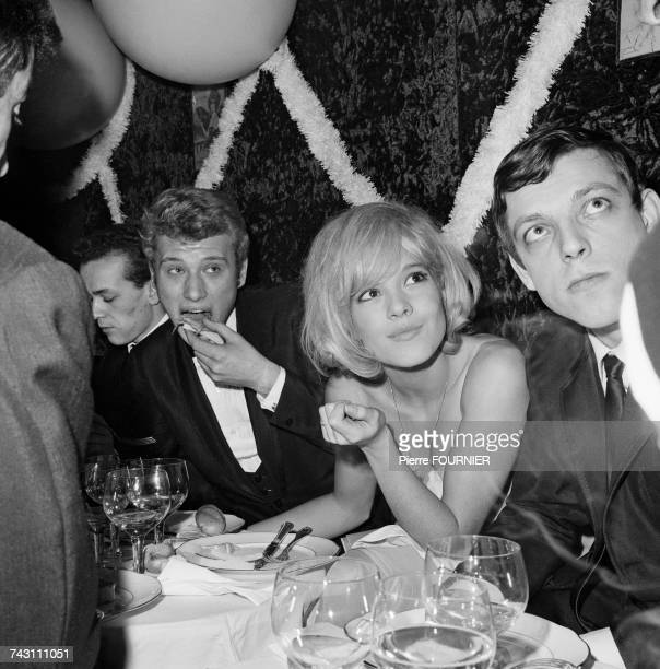 French singers Johnny Hallyday Sylvie Vartan and Eddie Vartan at the Olympia Hall in Paris 16th January 1964