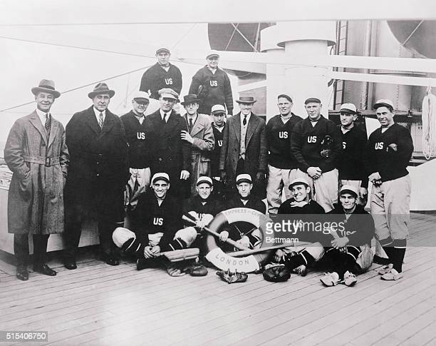 Left to right from the back row are Baseball Leaguers traveling from the Orient They are George Moriaity Herb Pennock Riggs Stevenson Fred Hoffman...