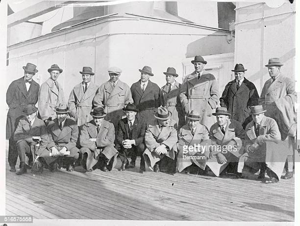 Left to right from the back row are Baseball Leaguers traveling from the Orient. They are George Moriaity, Herb Pennock, Riggs Stevenson, Fred...