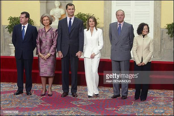 Left to right front Jesus Ortiz father of Letizia Ortiz Queen Sofia Prince Felipe Letizia Ortiz Juan Carlos and Paloma Ortiz mother of Letizia in...
