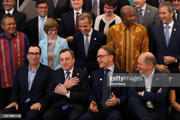 Left to right front row Steven Mnuchin US Treasury secretary Mario Draghi president of the European Central Bank Jens Weidmann president of the...