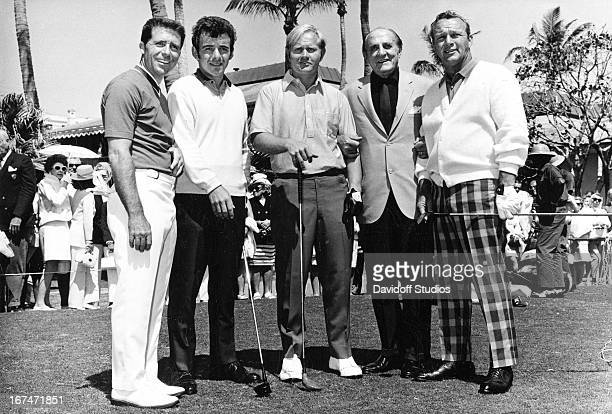 left to right Gary Player Tony Jacklin Jack Nicklaus unknown man and Arnold Palmer Circa 1965