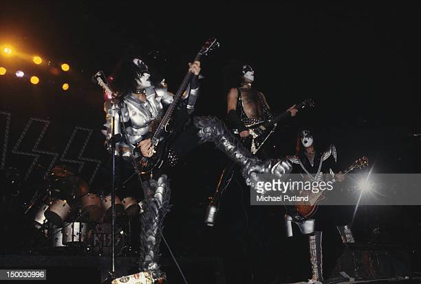 Gene Simmons Paul Stanley and Ace Frehley of American heavy metal group Kiss performing on stage New York February 1977