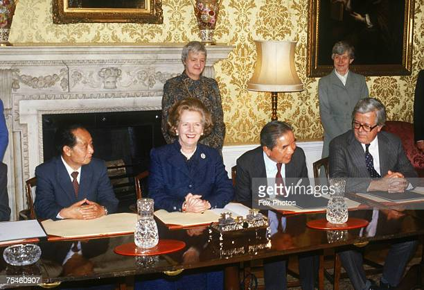 General Secretary of the Communist Party of China Hu Yaobang British Prime Minister Margaret Thatcher Hong Kong shipping magnate Sir YueKong Pao and...
