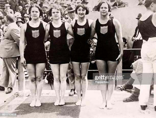 Gertrude Ederle Euphrasia Donnelly Ethel Lackie and Mariechen Wehselau of the USA winners of the women's 400 metre relay swimming event during the...