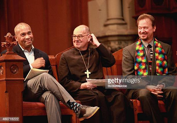 Left to right Gov Deval Patrick Episcipal Bishop M Thomas Shaw and former Methodist Minister Frank Schaefer were recipients of the Open Door Awards...