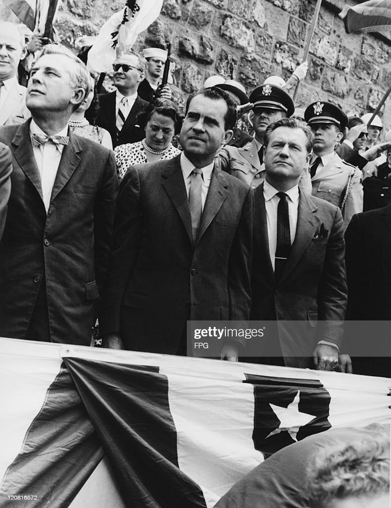 Governor of New Jersey Robert B. Meyner (1908 - 1990), Vice President Richard Nixon (1913 - 1994) and Governor of New York Nelson Rockefeller (1908 - 1979) at celebrations for the 350th anniversary of Henry Hudson's exploration of the river that bears his name, Battery Park, New York, 12th June 1959.