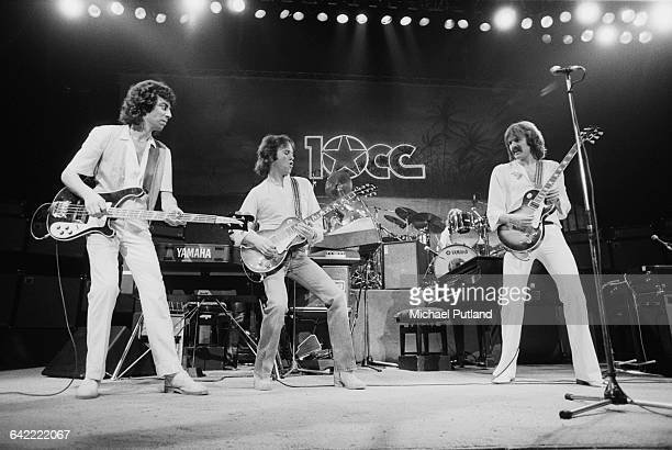 Graham Gouldman Eric Stewart and Rick Fenn performing with English rock band 10cc USA November 1978 Photo by Michael Putland/Getty Images