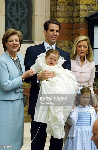 Left to right Greece''s Queen AnneMarie the Crown Prince and Crown Princess Pavlos with their son Achileas Andraes and daughter MariaOlympia attend a...