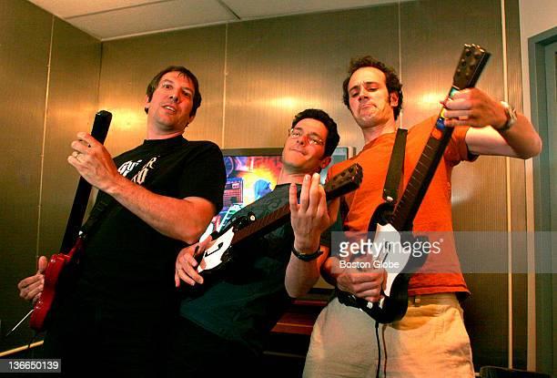 Left to right Guitar Hero creators Greg LoPiccolo VP Product Development Eran Egozy VP Engineering and Alex Rigopulos President and CEO of Harmonix...
