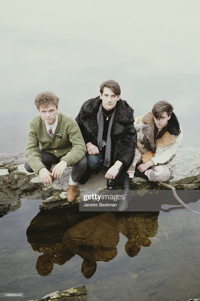 guitarist Gary Kemp, singer Tony Hadley and drummer John Keeble of English new romantic pop group Spandau Ballet, Scotland, 1981.