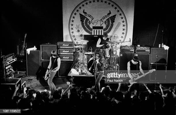 Left to right guitarist Johnny Ramone singer Joey Ramone drummer Marky Ramone and bassist Dee Dee Ramone of the band the Ramones perform on stage at...