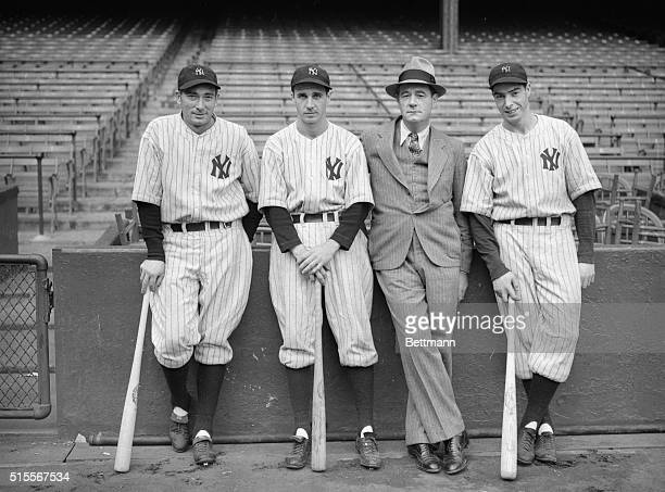 Left to right here are Tony Lazzeri, Frank Crossetti, Tom Laird, and Joe DiMaggio of the New York Yankees.