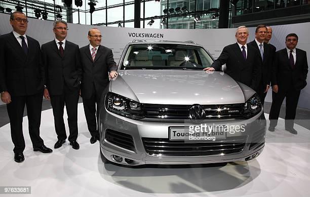Horst Neumann, head of human resources at Volkswagen AG, Rupert Stadler, chief executive officer of Audi AG, Christian Klingler, head of sales and...